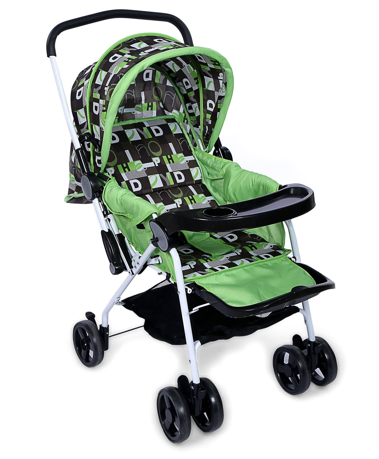 Baby Pram Cum Stroller Alphabet Print - Green And Black