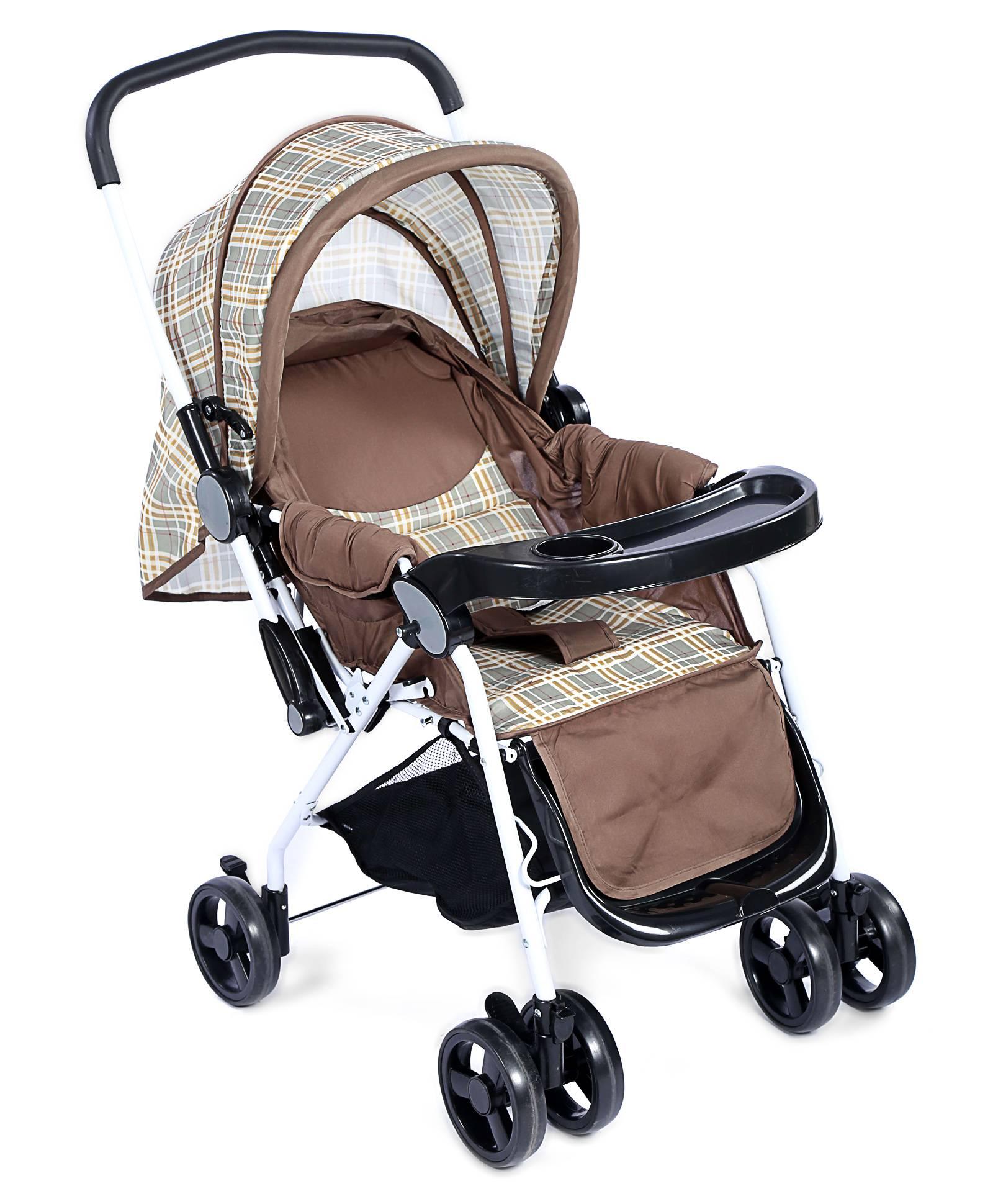 Baby Pram Cum Stroller Checks Print - Brown And Black