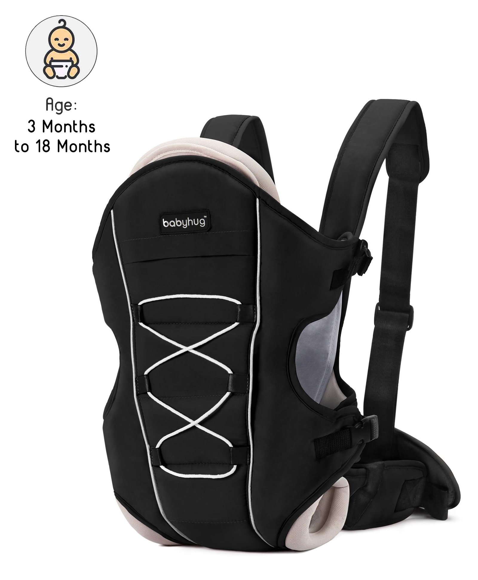 Babyhug Cuddle Up 3 Way Baby Carrier - Black