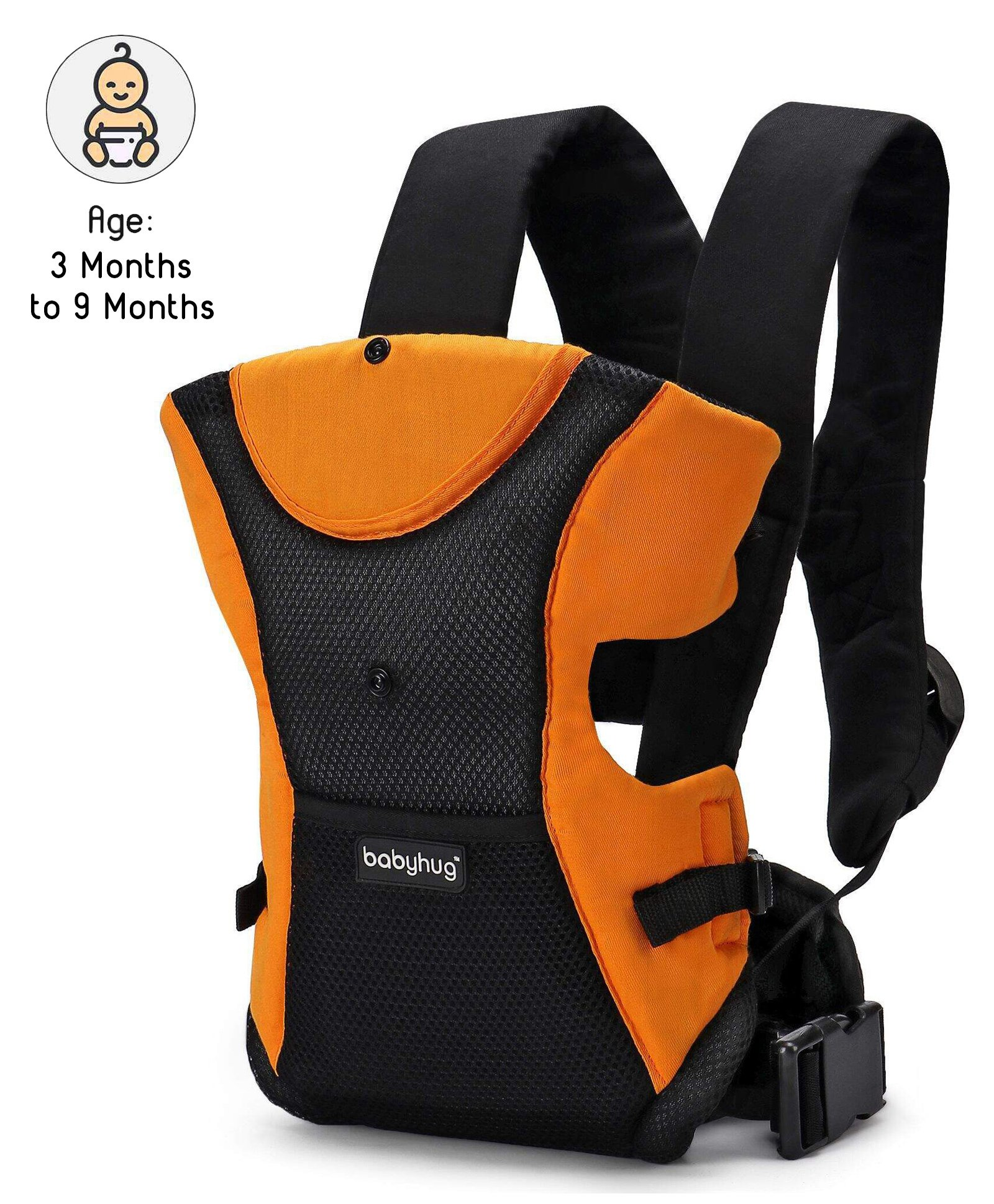 Babyhug Kangaroo Pouch 3 Way Baby Carrier - Orange & Black
