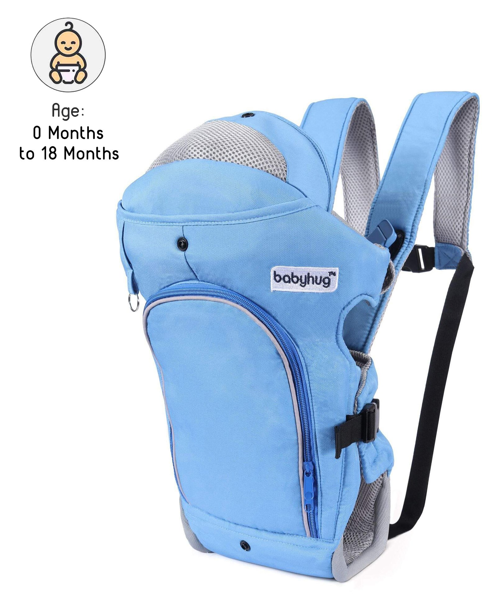 Babyhug Comfort Nest 3 Way Baby Carrier - Sky Blue