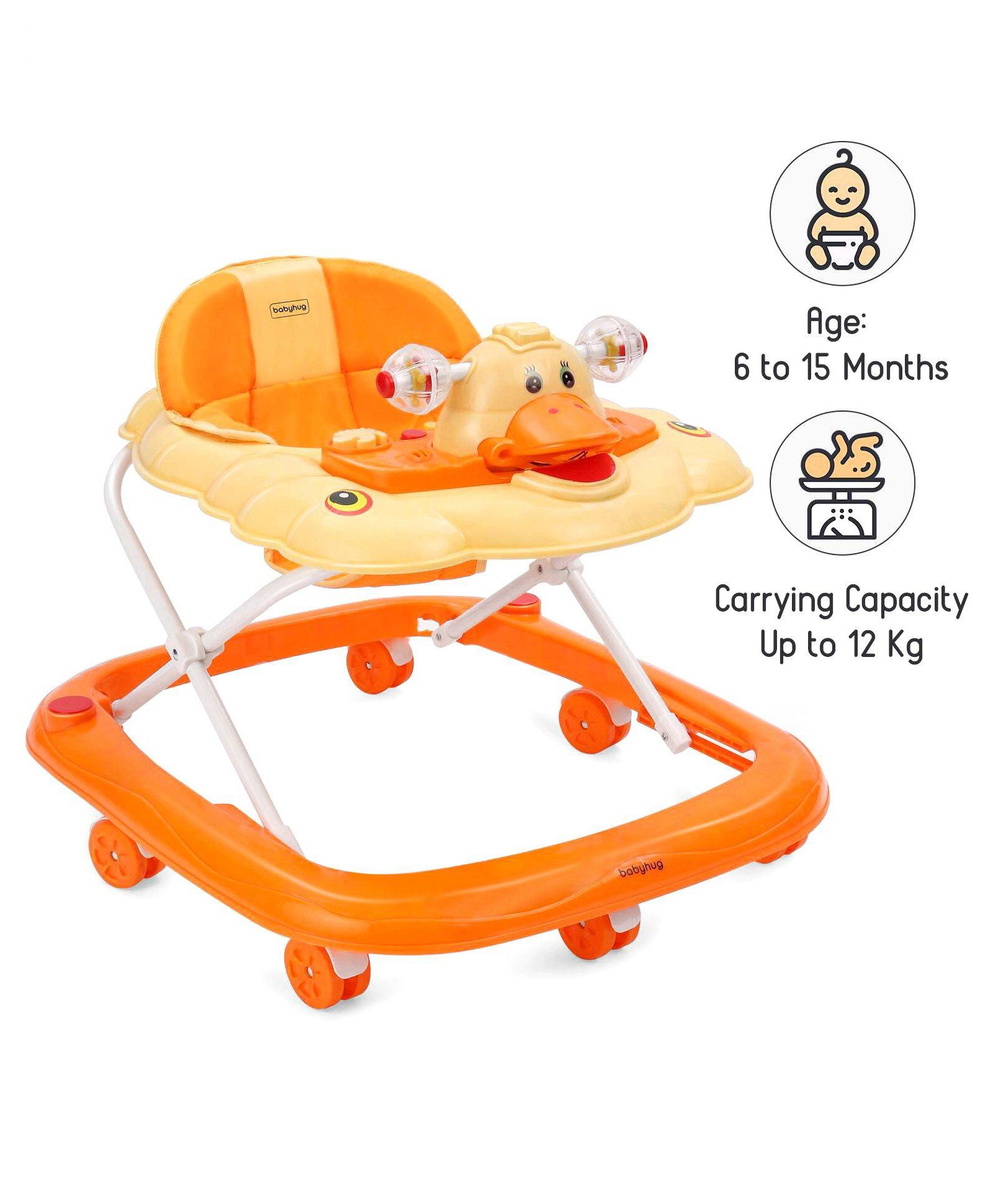Babyhug Happy Duck Musical Walker - Orange