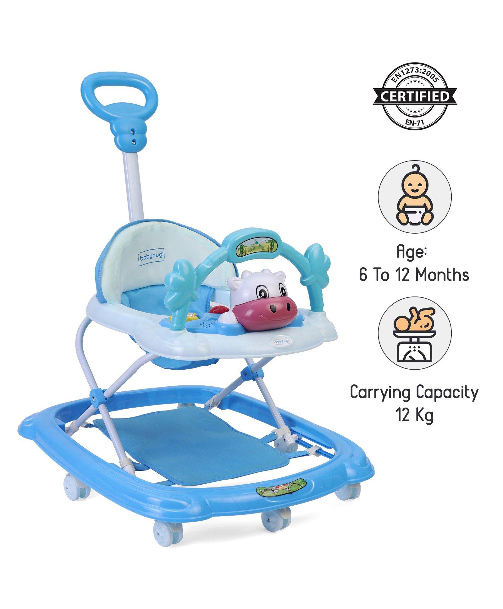 Babyhug Tiny Trotter Musical Baby Walker - Blue