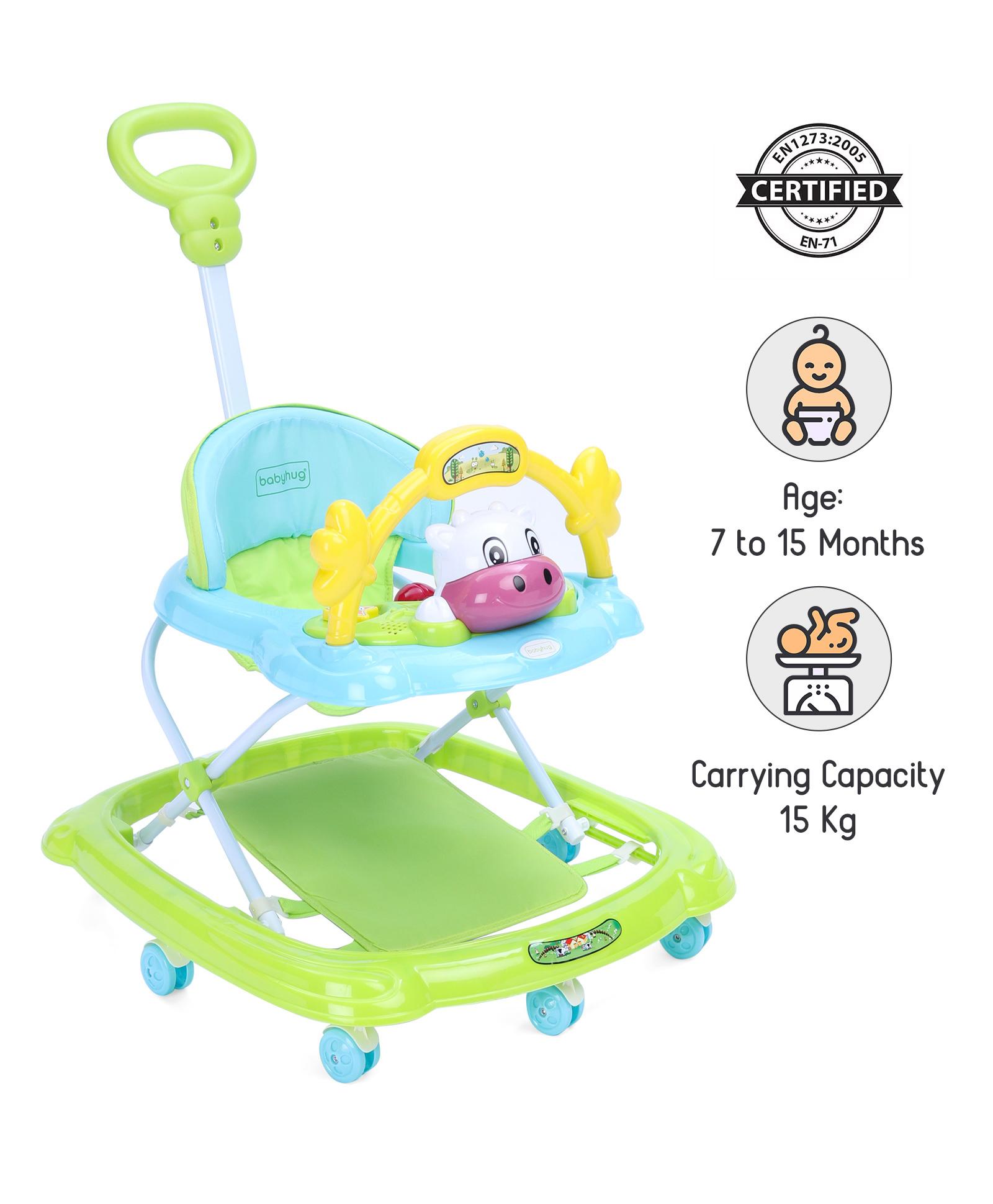 Babyhug Tiny Trotter Musical Baby Walker - Green