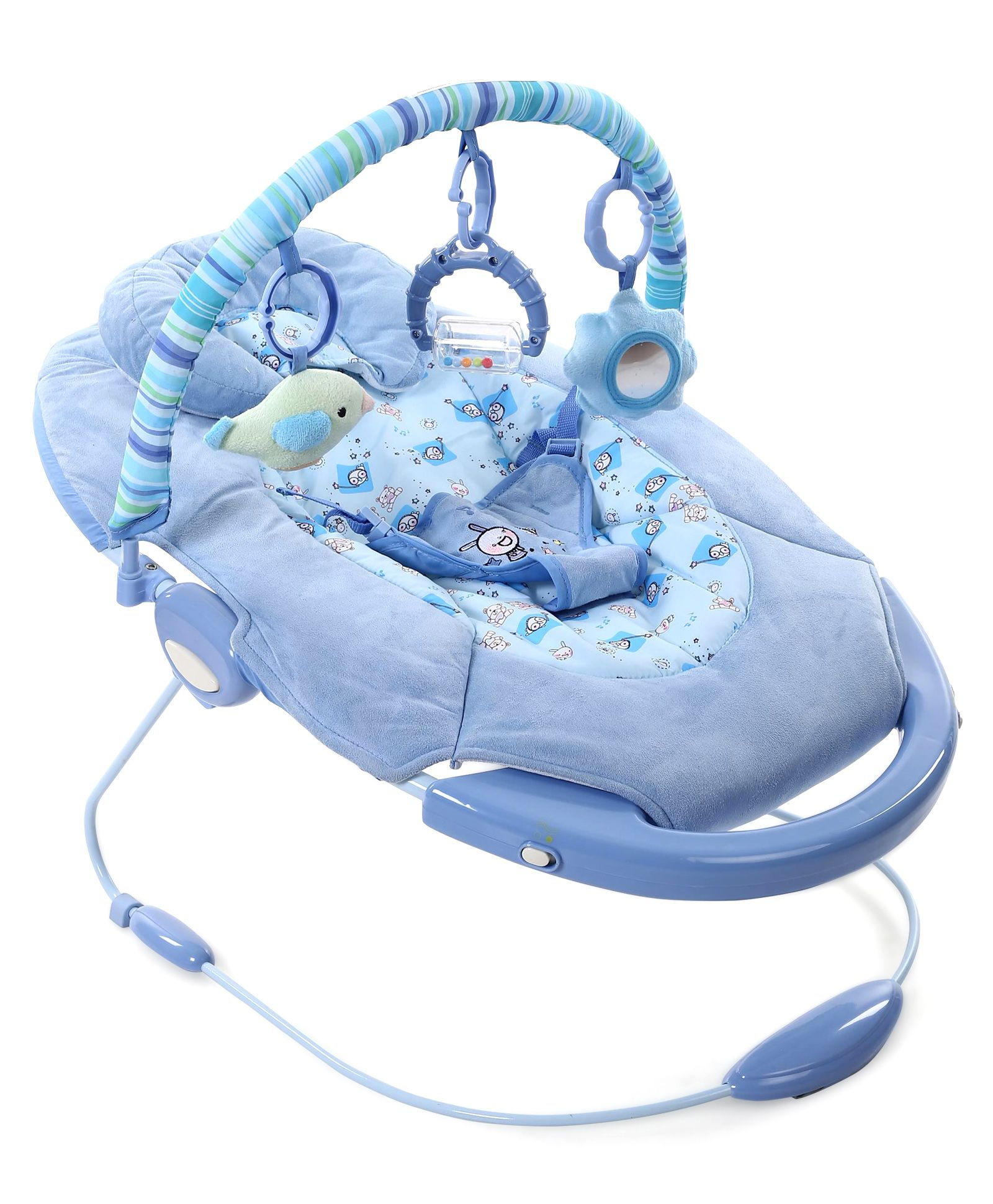 Baby Cradle And Soothing Vibrations Bouncer Animal Print - Sky Blue