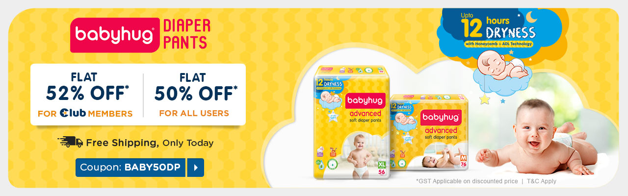 BabyHug Diapers Club Flat 50% Off