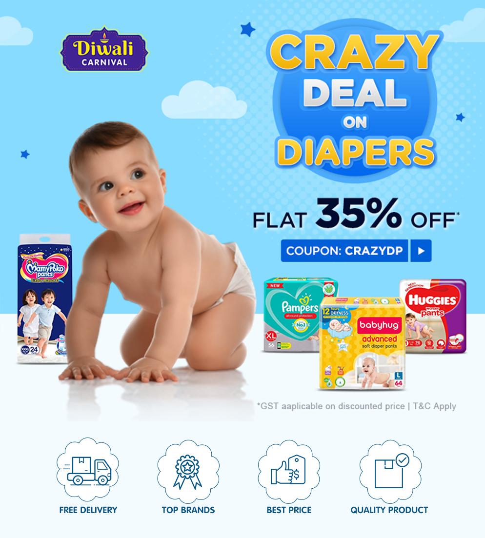 CRAZYDP DEALS on Diapers FLAT 35% OFF*