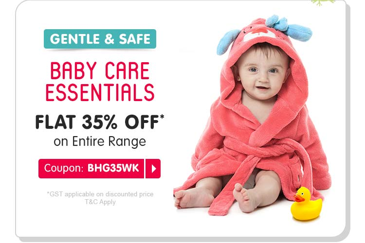 BABY CARE ESSENTIALS FLAT 35% OFF* on Entire Range