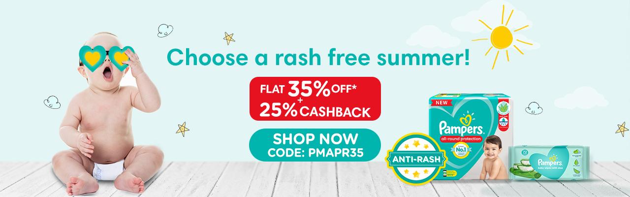 Pampers Flat 35% Off + 25% Cashback