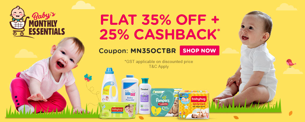 Coupons and Offers for FirstCry - Flat 35% discount + Additional 25% Cash back on Monthly Essentials