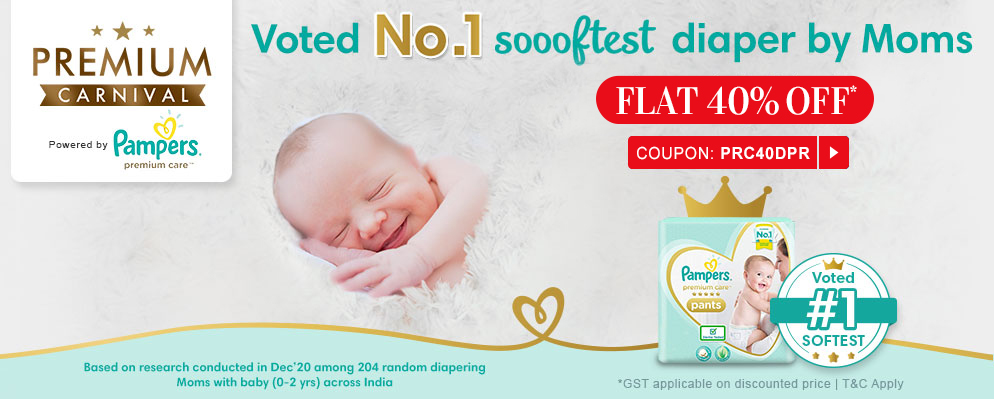 firstcry.com - Flat 40% discount on Select Pampers Premium Diapers