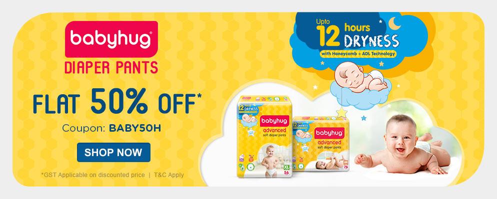 firstcry.com - Flat 50% Discount on Babyhug Diaper Pants
