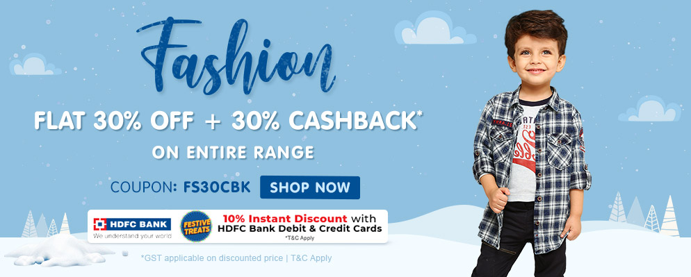 Firstcry Offers & Discount Sale - 30% discount + Additional 30% cashback on Kids Fashion Range
