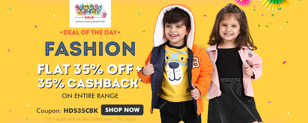 Firstcry Offers & Discount Sale - Avail Flat 35% off + Extra 35% Cash-back on Entire Fashion Range