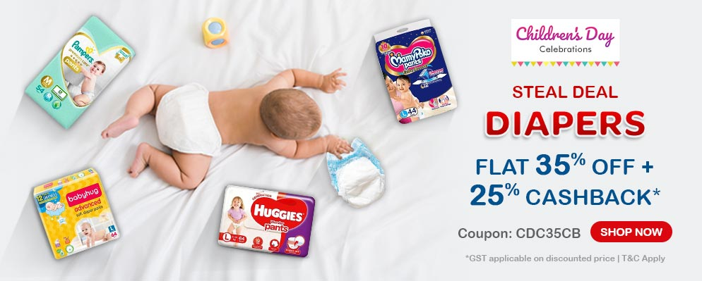 firstcry.com - 35% OFF + Extra 25% cashback on Diapers & Diapering Essentials