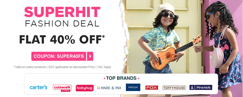 Coupons and Offers for FirstCry - Get Flat 40% Discount on Select Top Fashion Brands