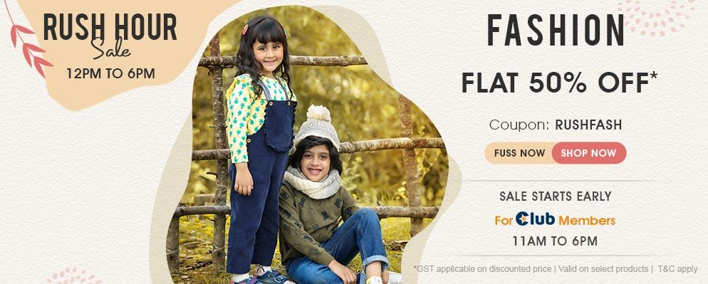 firstcry.com - Rush Hour Sale – Get Flat 50% Off on Kids Fashion
