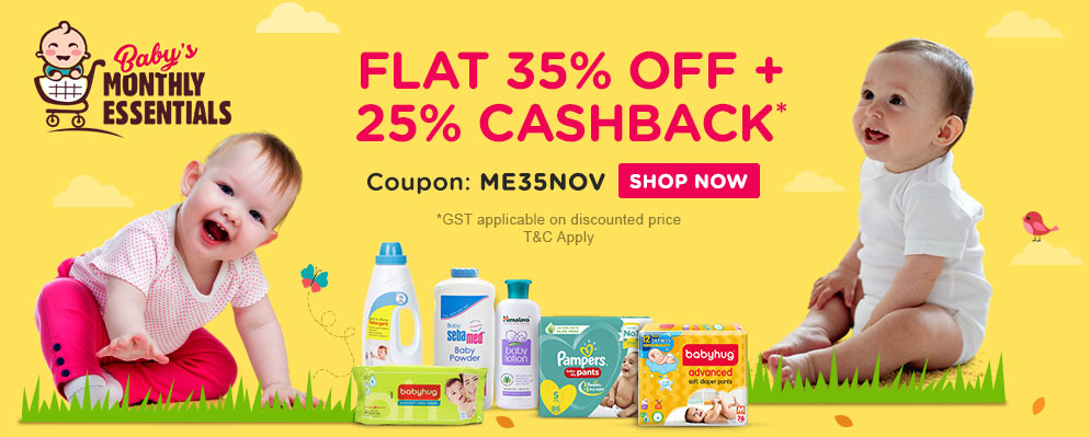 firstcry.com - Flat 35% Discount + Additional 25% Cashback on Monthly Essentials