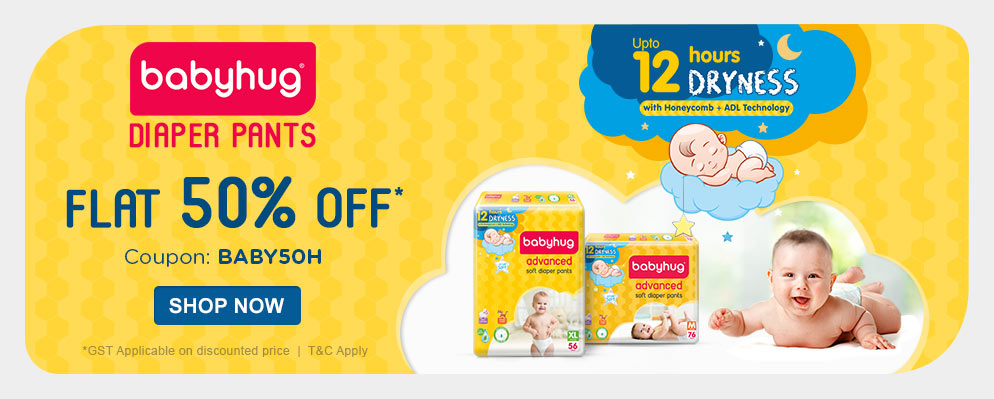 firstcry.com - Flat 50% OFF on Babyhug Diaper Pants