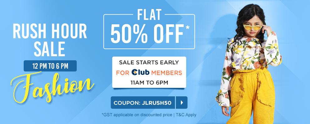 firstcry.com - Rush Hour Sale – Flat 50% off on Kids Fashion