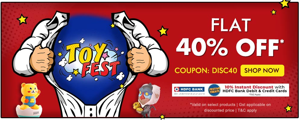 Firstcry - Avail Flat 40% OFF on Selected toys range