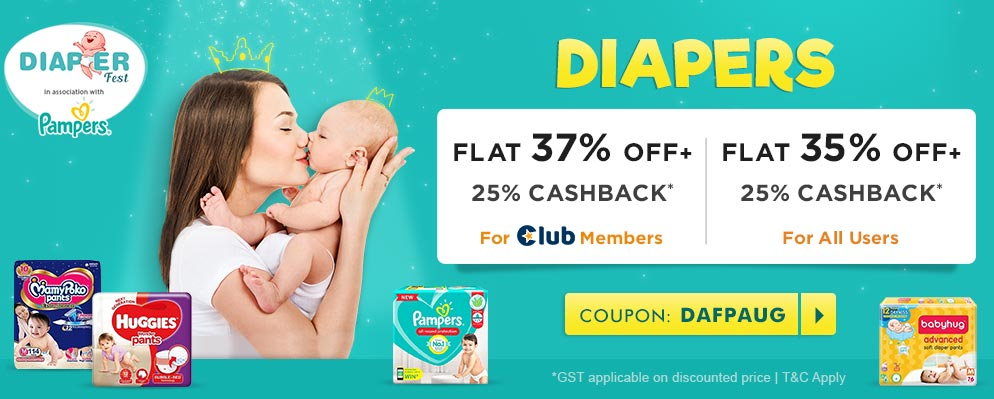 firstcry.com - Get Flat 35% Off + Additional 25% Cash back on Entire Diapering Range