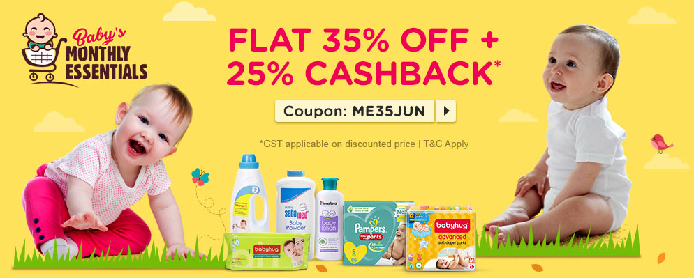 firstcry - Avail Flat 35% Discount + Additional 25% cash back on Monthly Essentials