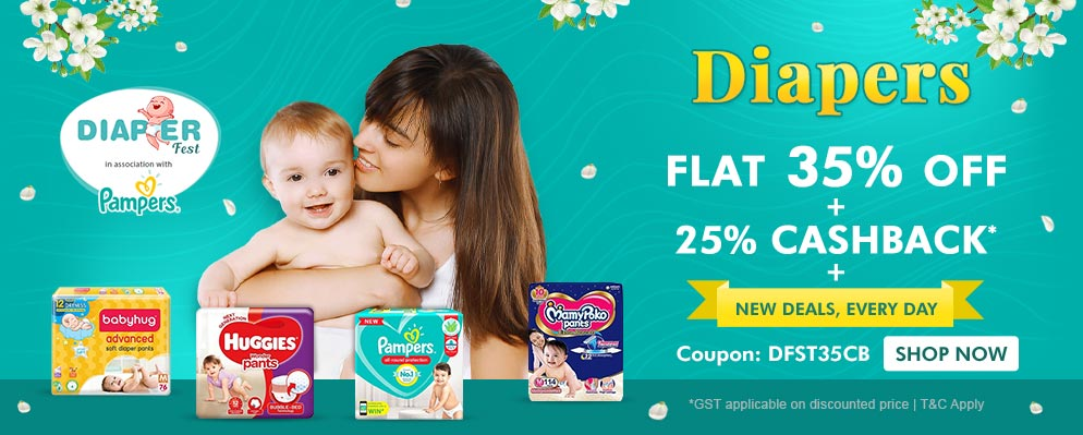 firstcry.com - 35% Discount + Extra 25% cashback on Entire Diapering Range