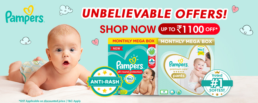 Coupons and Offers for FirstCry - Upto ₹1100 discount on Pampers Baby Diapers