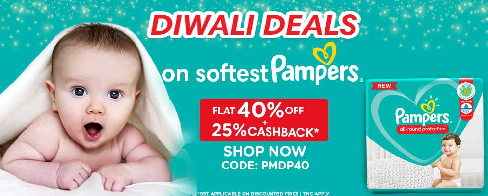 Coupons and Offers for FirstCry - Get 40% discount + Extra 25% Cash Back on Pampers Range