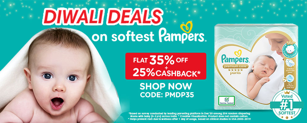 firstcry.com - 35% Discount + Extra 25% Cash back on Pampers Baby Diapers