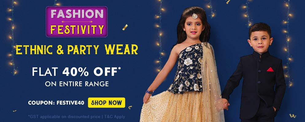 Coupons and Offers for FirstCry - Fashion Festivity – Get Flat 40% off on Ethnic and Party Wear