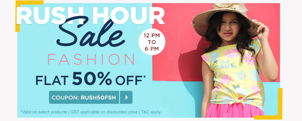 firstcry.com - Rush Hour Sale – Flat 50% Discount on select fashion products