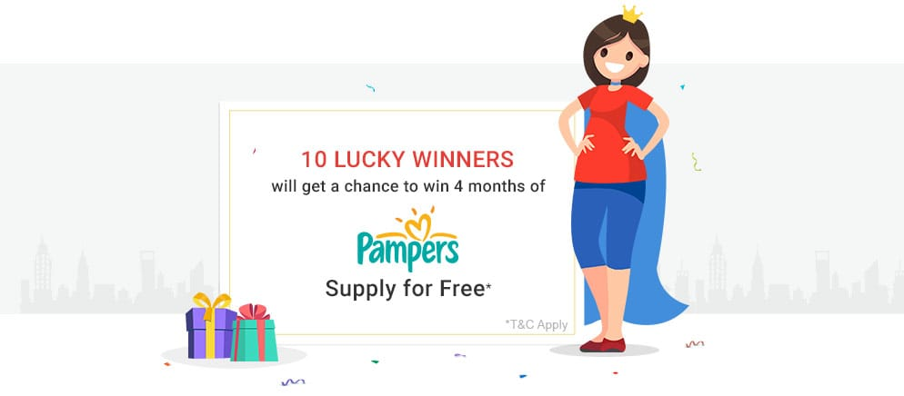 10 Lucky Winners will get a chance to win 4 months of Pampers supply for free*