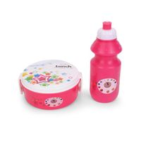 Round Lunch Box And Water Bottle - Pink & White