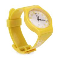 Leaf Print Analog Watch - Yellow