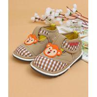 Cute Walk Casual Shoes Monkey Patch - Beige