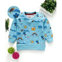 Babyhug Winter Wear Full Sleeves Sweatshirt Multiprint - Sky Blue