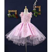 Mark & Mia Pearls Embellished Sleeveless High Low Hem Net Dress - Light Pink