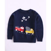 Pre Order - Awabox Vehicles Design Full Sleeves Sweater - Dark Blue