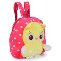 School Bag Animal Face Polka Dots Print Pink - Height 10.82 Inches