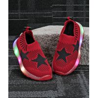 Kidlingss Star Design LED Shoes - Red