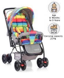 Babyhug Cosy Cosmo Stroller With Reversible Handle & Back Pocket - Vibgyor