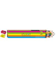 FfUuNn Stripes Design Pencil With Eraser Tip Multicolor - Pack Of 10