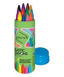 Youva Plastic Crayons Tin - Pack of 12 Shades
