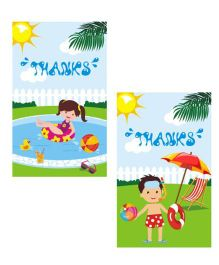 Preetyurparty Pool Party Thankyou Cards - Pack of 10