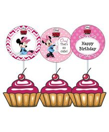 Disney Minnie Mouse Cupcake And Food Toppers - Pack of 10
