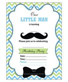 Prettyurparty Little Man Theme Invitations Green Blue White