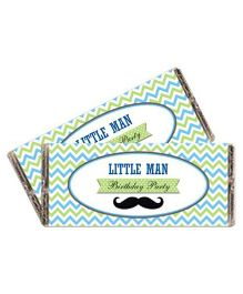 Prettyurparty Little Man Theme Chocolate Wrappers Green Blue White - Pack Of 10