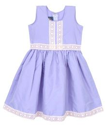 Patch Bunnies Sleeveless Frock Lace Design - Purple